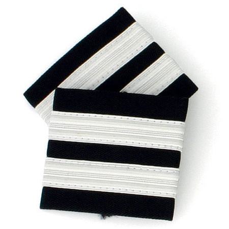 First officer Epaulets - 2 Bar - Black with Silver Stripes