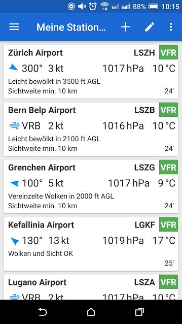Avia Waether App Android Startbildschirm