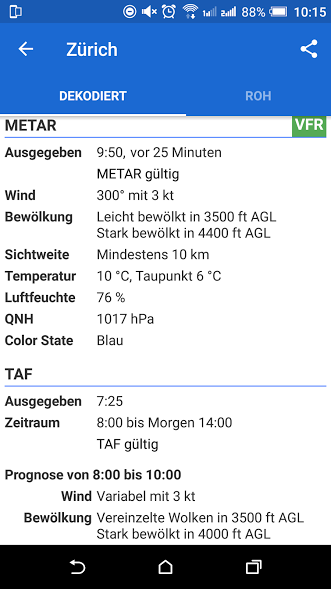 METAR LSZH Detail Avia Weather Android App