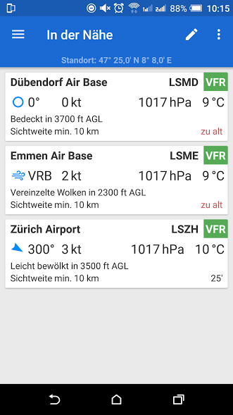 Avia Weather in der Nähe Metar Stationen